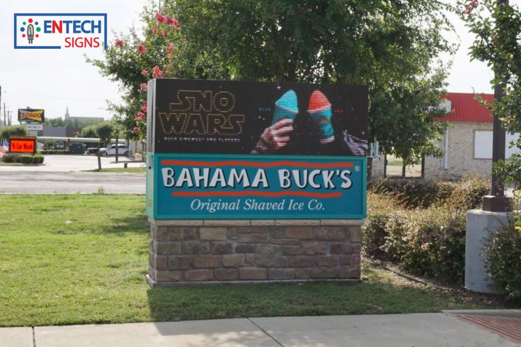 Bahama Bucks Attracts Business by Advertising Snow Cones and Specials on their LED Sign During the Texas Summer